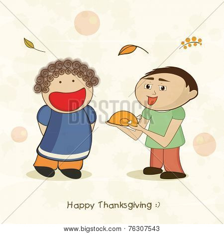 Happy cute little kids on occasion of Thanksgiving Day celebrations with cooked chicken on beige background.