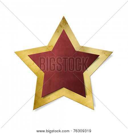 Red star with gold frame isolated, clipping path included