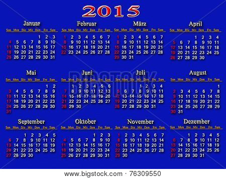 Blue Calendar For 2015 Year