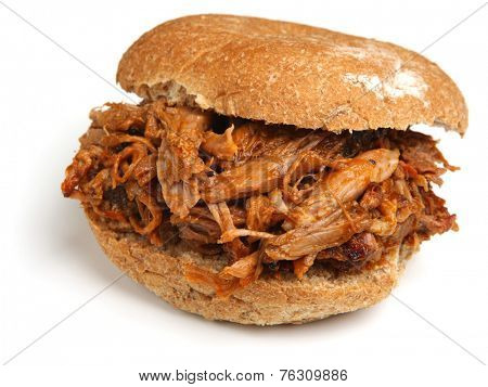 Pulled pork or hog roast sandwich with bbq sauce.