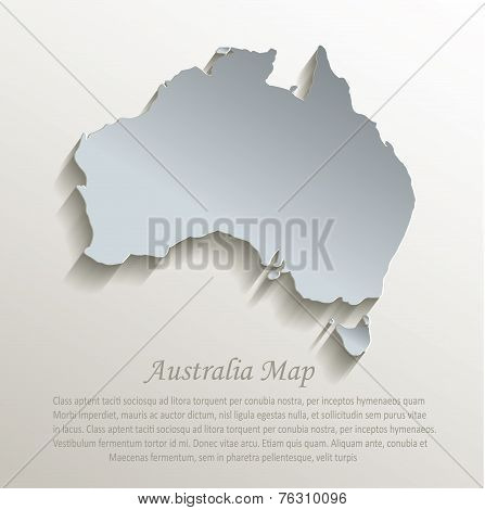 Australia map white blue card paper 3D vector