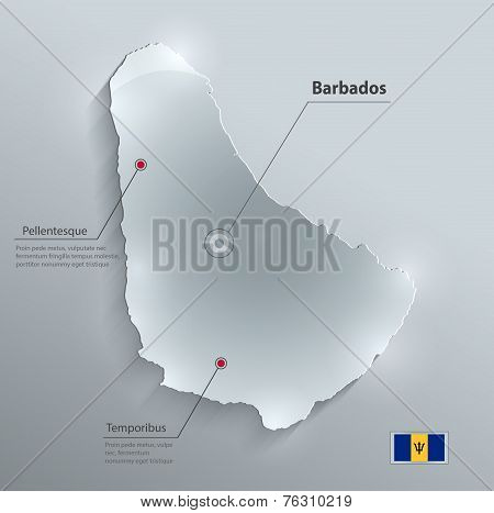 Barbados map flag glass card paper 3D vector