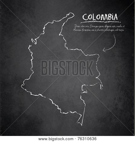 Colombia map blackboard chalkboard vector