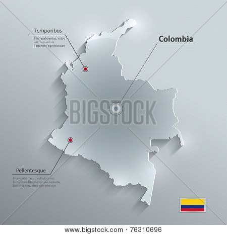 Colombia flag map glass card paper 3D vector