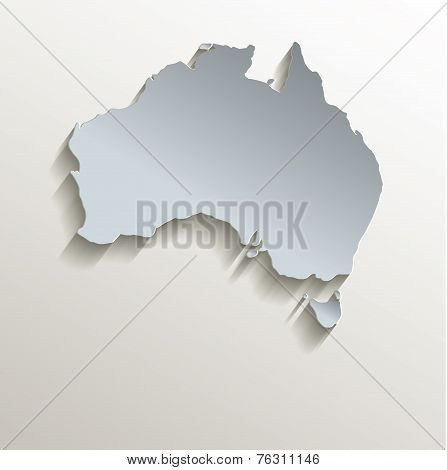 Australia map white blue card paper 3D raster