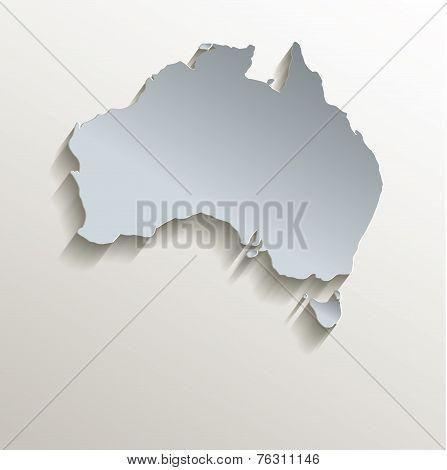 Australia map white blue card paper 3D raster