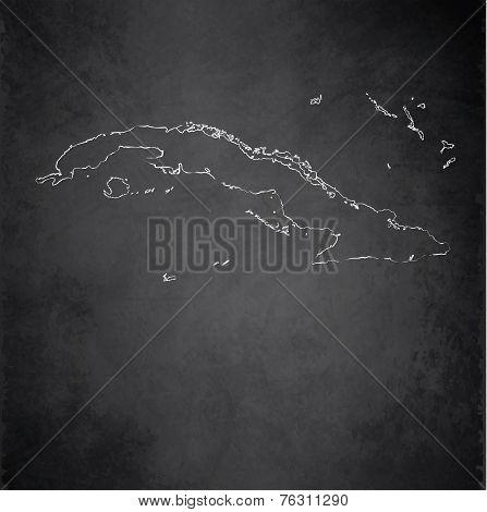 Cuba map blackboard chalkboard raster
