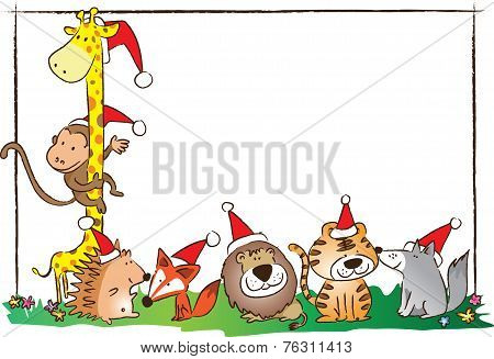 zoo animals with blank card