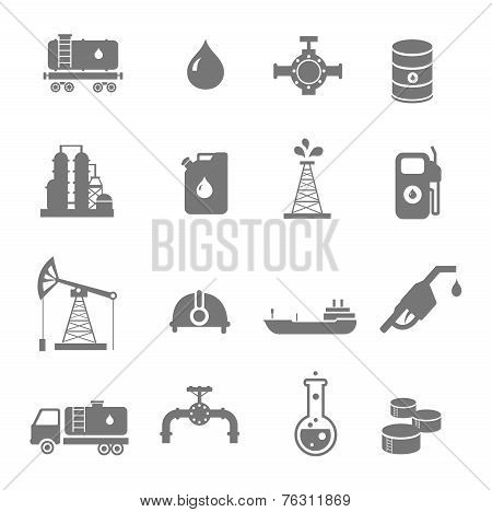 Oil industry gasoline processing symbols icons set with oilman truck petroleum can tanker
