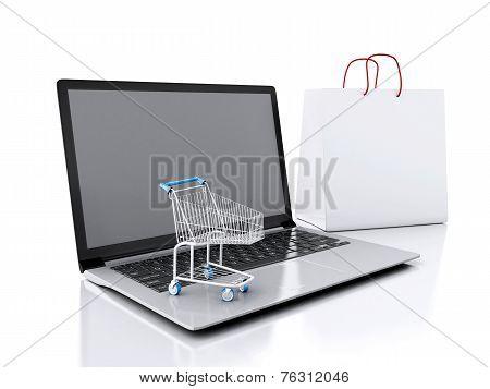 3d Shopping cart. Online shopping concept