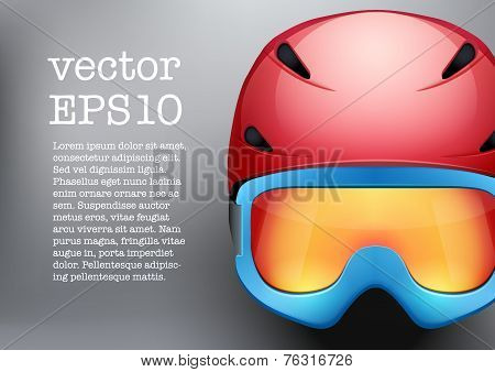 Background of Classic Ski helmet and snowboard goggles. Vector isolated on white background