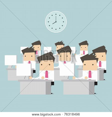 Businessman at table in office vector