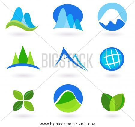 Nature, mountain and turism icons - blue and green