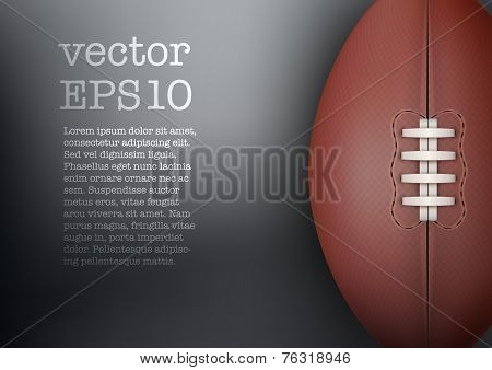 Dark Background of rugby ball. Vector Illustration.