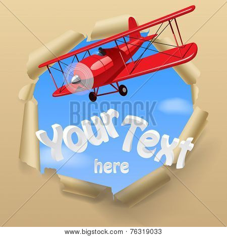 Vintage red airplane with torn paper hole on the sky. Vector illustration