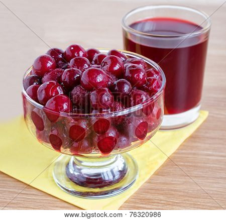 frozen cherry and juice are on the table