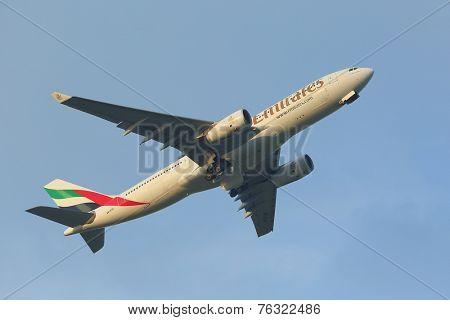 BUDAPEST, HUNGARY - OCTOBER 18: Emirates Airbus A330 taking off at Budapest Airport, October 18th 2014. This was the first ever Emirates flight to Budapest.