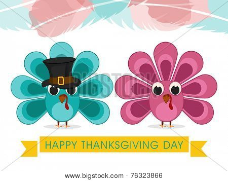 Cute turkey bird couple with pilgrim hat on colourful abstract background for Happy Thanksgiving Day celebrations.