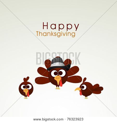 Happy Thanksgiving Day celebrations concept with cute turkey bird family with pilgrim hat  on grey background