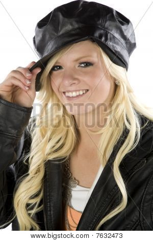 Girl Holding Tip Of Black Hat