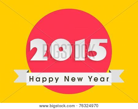 Red sticker or label for Happy New Year celebration with stylish text on yellow background.