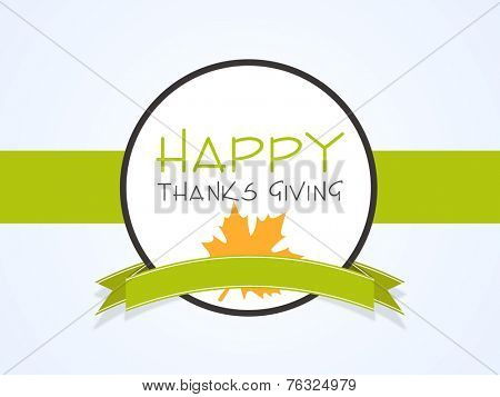 Beautiful sticky for Happy Thanksgiving Day celebrations with green ribbon.