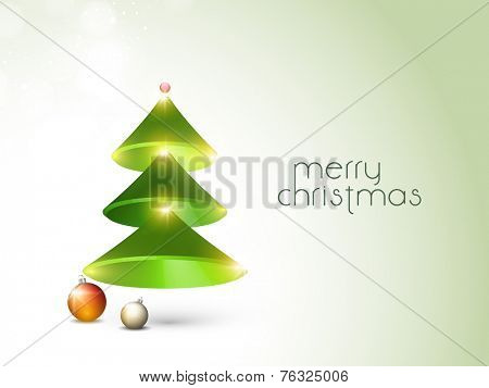 Creative shiny X-mas tree and X-mas ball for Merry Christmas celebration on stylish background.
