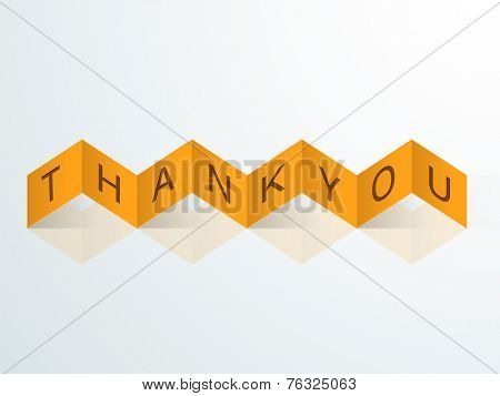 Stylish zigzag yellow paper ribbon with text Thank You for Happy Thanksgiving Day celebrations.