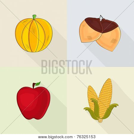 Happy Thanksgiving Day celebrations set with pumpkin, acorn, apple and corn on colourful background.