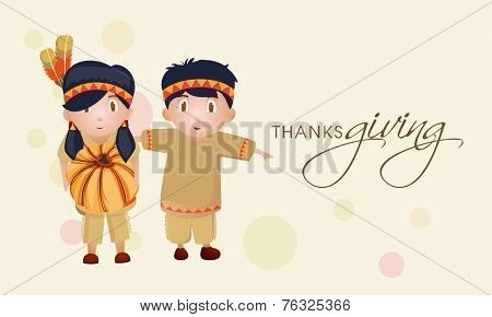 Cute little tribe kids holding pumpkin on abstract background for Thanksgiving Day celebration
