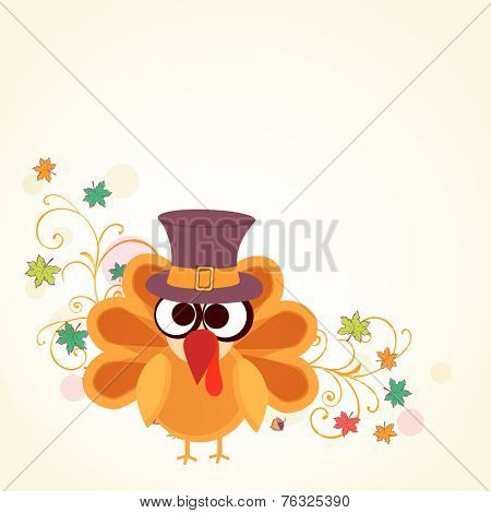 Thanksgiving Day celebration concept with cute turkey bird in pilgrim hat and maple leaves on beige background.