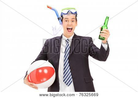 Businessman with snorkel holding a bottle of beer isolated on white background