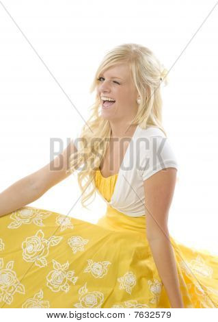 Girl In Yellow Dress Winking