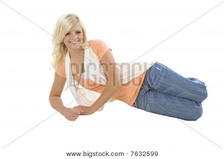 Girl Laying On Side In Orange