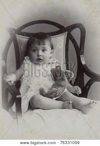 MOSCOW, RUSSIA - CIRCA  1905: Antique photo, portrait of a little girl