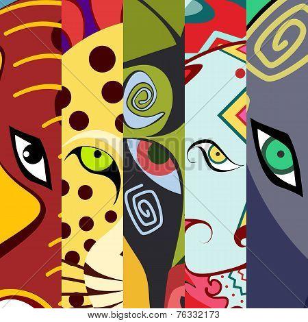 Animals eyes. Color vector design illustration.