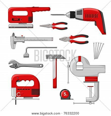 Electric power tools. Color vector illustration.