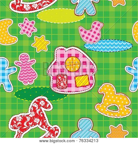 Seamless Pattern With Patch Silhouettes -  Fabric Texture. Ready To Use As Swatch