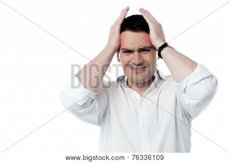 Stressed Man Having Strong Headache