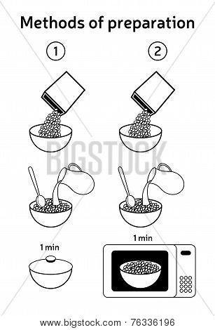 Methods of preparing oatmeal, Muesli,  corn flakes, breakfast cereals. Vector icons.