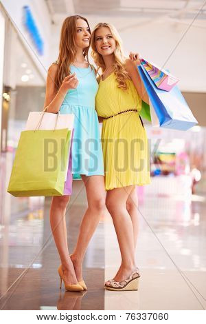 Portrait of two stylish girls with paperbags shopping in the mall