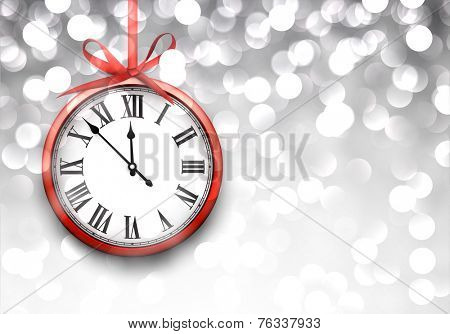 Vintage clock over defocused silver christmas background. New year vector illustration.