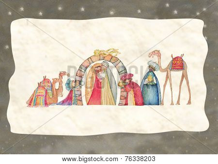 Christmas Nativity scene with the three wise men- watercolor