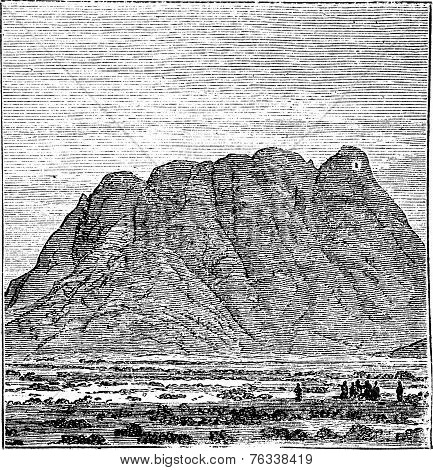 Mount Sinai Or Mount Horeb In Sinai Peninsula Egypt Vintage Engraving