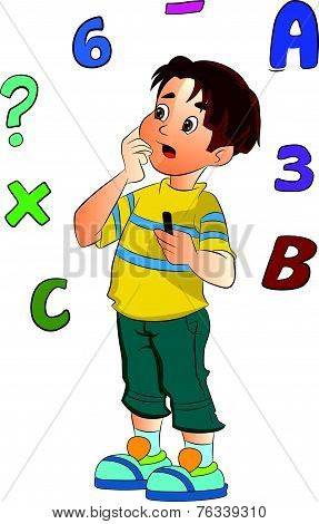 Boy Solving A Math Problem, Illustration