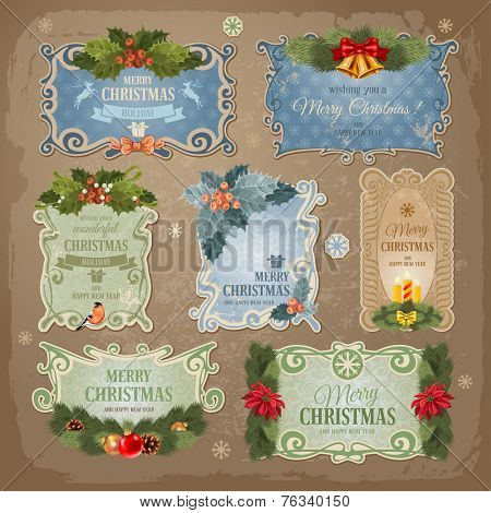 Christmas vintage labels set. Vector illustration.