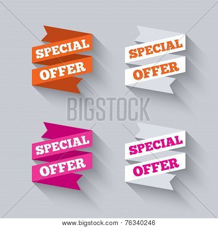 Paper banners or ribbons. Special offer.