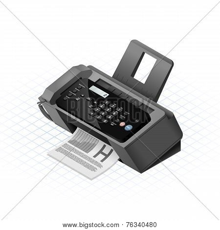 Isometric Fax Machine Vector Illustration