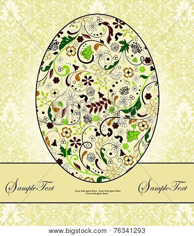 Vintage Easter Invitation Card With Ornate Elegant Retro Abstract Floral Design