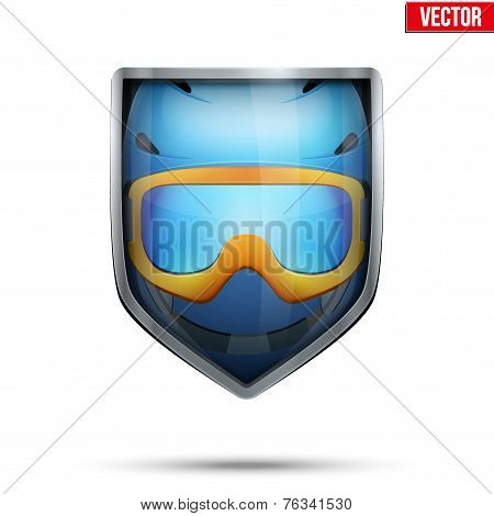 Bright shield in the ski helmet and goggles inside. Vector.